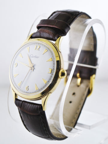 1930's Vintage Cartier Round Automatic Wristwatch on Leather Strap in Solid Yellow Gold - $20K VALUE