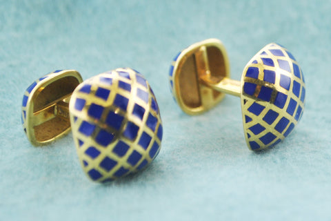 David Webb Pair of Cuff-links Blue Enamel Double Cuff-links in 18 Karat Yellow Gold - $10K VALUE