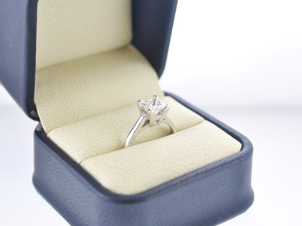 Contemporary Diamond Engagement Ring 1.56 Ct. Princess Cut Brilliant in White Gold - $25K VALUE