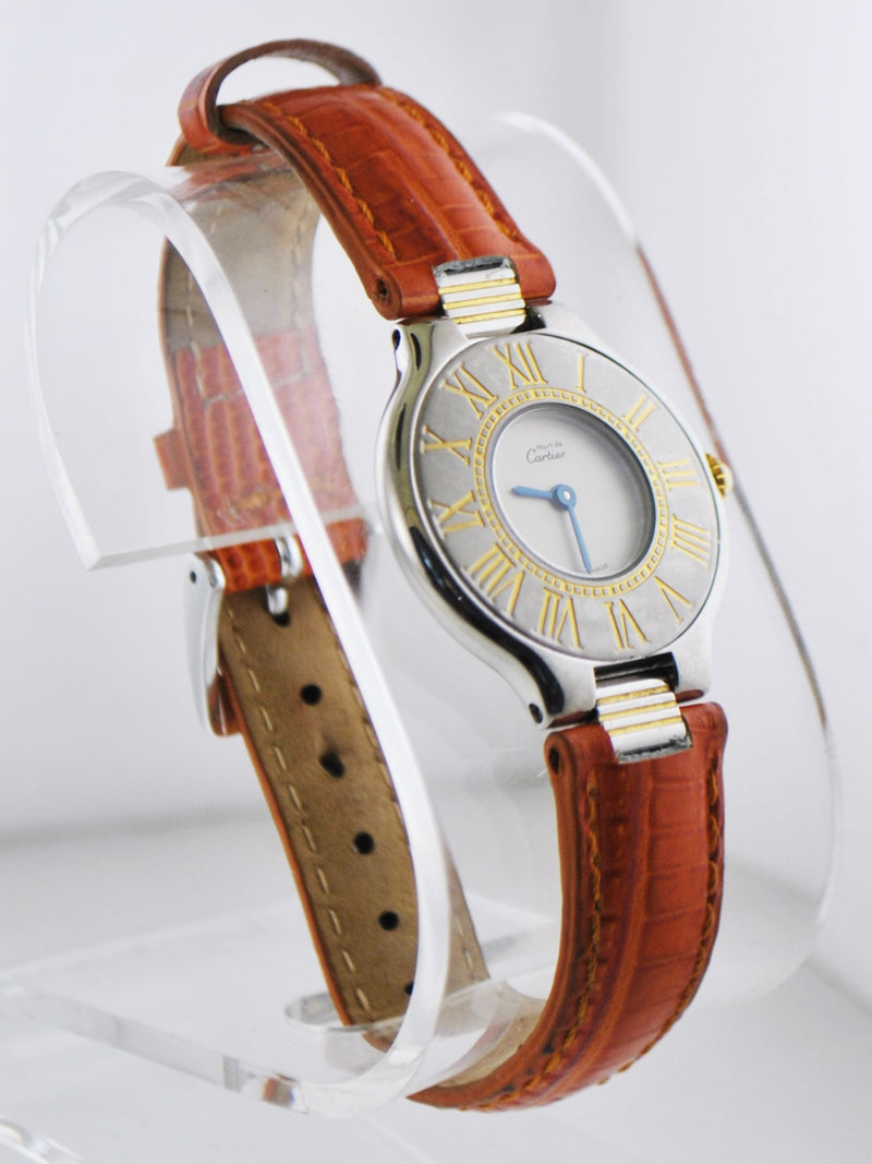 CARTIER Must de Cartier Two-Tone YG & SS Wristwatch on Brown Leather Strap- $7K VALUE
