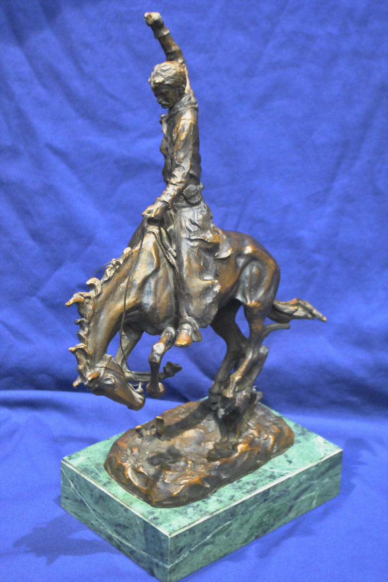 Carl Kauba, Rodeo Rider, Bronze Sculpture Rare - 1890s - Western Cowboy & Horse Signed $6K VALUE*