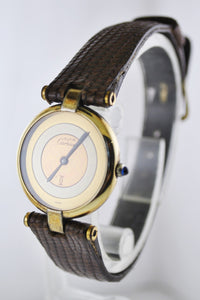 Cartier Paris Argent Quartz Small Wristwatch Three-Tone Dial Yellow Gold Plated - $6K VALUE
