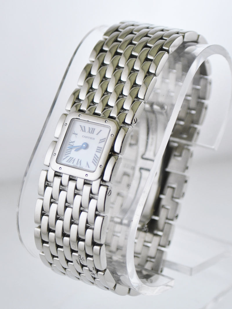CARTIER Ruban #2420 Square Wristwatch W/ Pearl Dial & Original Bracelet in Stainless Steel - $10K VALUE!