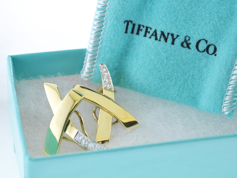 1988 Paloma Picasso for Tiffany & Co Diamond Earrings  in 18 Karat Yellow Gold Signed - $10K VALUE