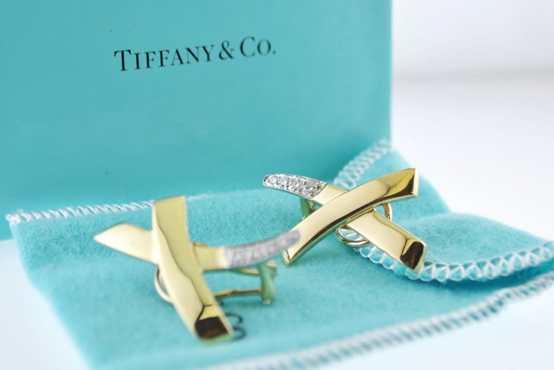 TIFFANY & CO. 1988 Paloma Picasso Diamond Earrings in 18K Yellow Gold Signed - $10K VALUE
