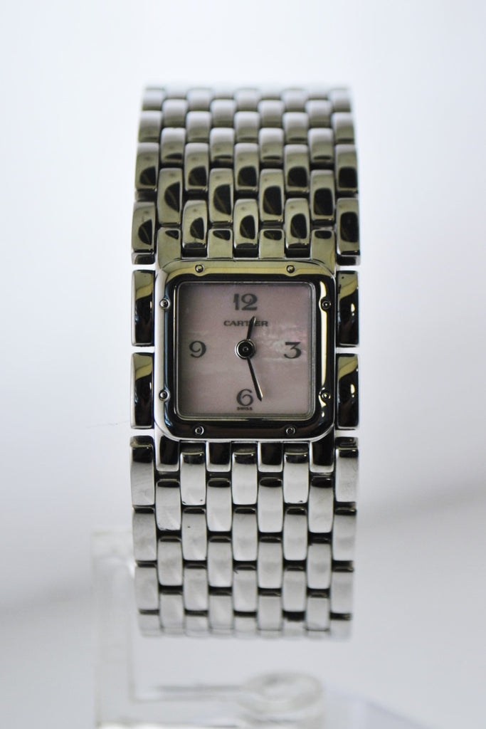 Cartier Ruban 2420 Square Wristwatch Pink Pearl Dial Water Resistant Bracelet in Stainless Steel - $10K VALUE