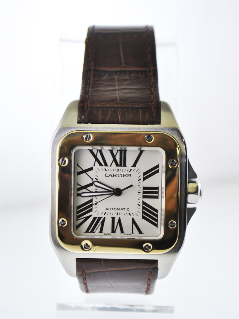 Cartier 100XL Santos #2656 Two-Tone Jumbo Square Wristwatch Automatic in 18 Karat Yellow Gold and Stainless Steel - $20K VALUE