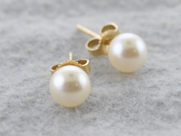 MIKIMOTO 6mm White South Sea Cultured Pearl Stud Earrings set in Yellow Gold -$1K Appraisal Value! ✓
