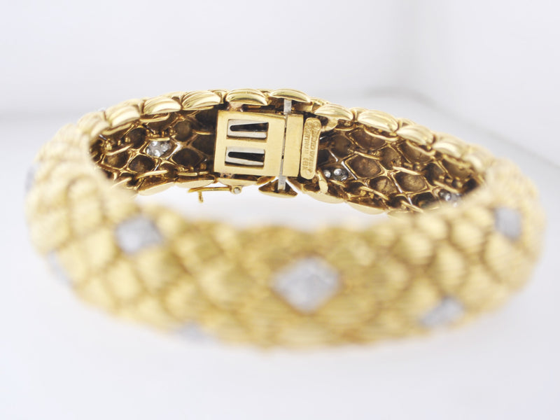 DAVID WEBB Rare 1950s Signed 18K Gold & Platinum Bracelet/Watch - $85K VALUE