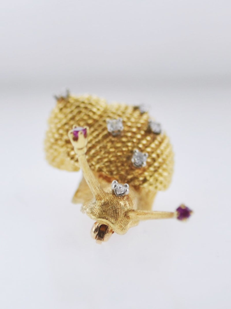 Vintage Cherny Snail Brooch Diamond Ruby in 18K Yellow Gold Pin $8K VALUE