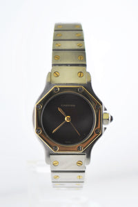 CARTIER Santos Two-Tone YG & SS Octagonal Automatic Wristwatch w/ Ruby Style Dial - $10K VALUE!