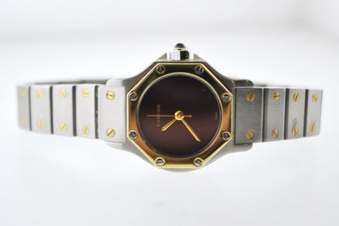Cartier Santos Two-Tone Octagonal Wristwatch Automatic Ruby Style Dial in Yellow Gold and Stainless Steel - $10K VALUE