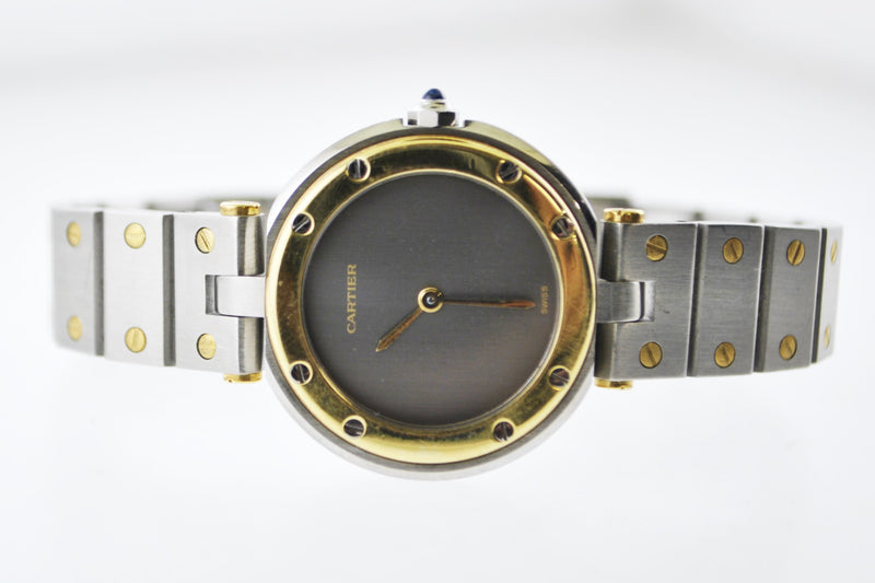 CARTIER Santos Two-Tone YG & SS Round Quartz Wristwatch w/ Grey Dial - $10K VALUE!