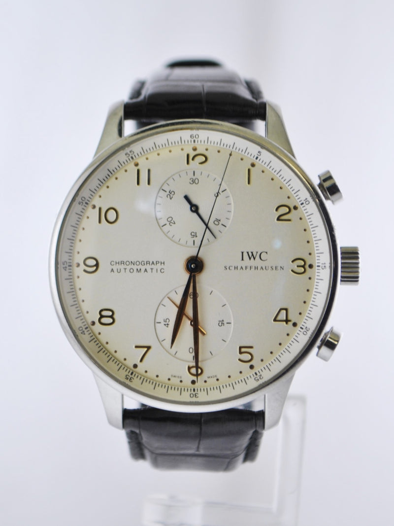 Contemporary IWC Schaffhausen Portugieser Chronograph Automatic in Stainless Steel Wristwatch on Original Band - $13K VALUE