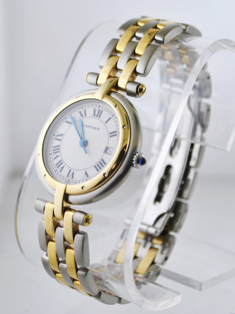 Cartier Panthere Two-Tone Round Quartz Wristwatch in Yellow Gold and Stainless Steel - $10K VALUE
