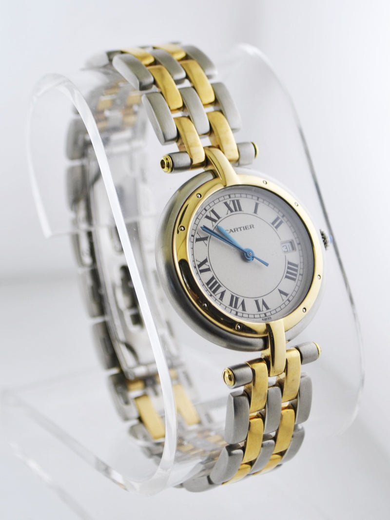 CARTIER Panthere Two-Tone Round Quartz Wristwatch in YG & SS - $10K VALUE!