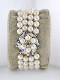 1940's Vintage Handmade Bracelet 5 mm Pearl Sapphire in White Gold with Ornate Clasp - $10K VALUE