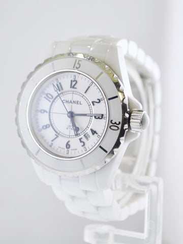 Chanel Quartz Ladies Wristwatch Ref.#H0968 J12 in Stainless Steel and White Ceramic - $8K VALUE, w/Cert