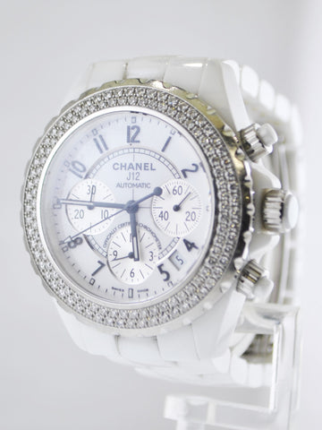 Chanel J12 Diamond Automatic Chronograph Water Resistant in Stainless Steel and White Ceramic - $20K VALUE, w/Cert!