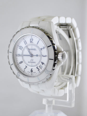 Chanel Automatic Ladies Wristwatch J12 in Stainless Steel and White Ceramic 38 mm - $8K VALUE, w/Cert!