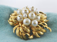Pearl Brooch with 13 Pearls in Floral Intricate Design in 18 Karat Yellow Gold - $20K VALUE