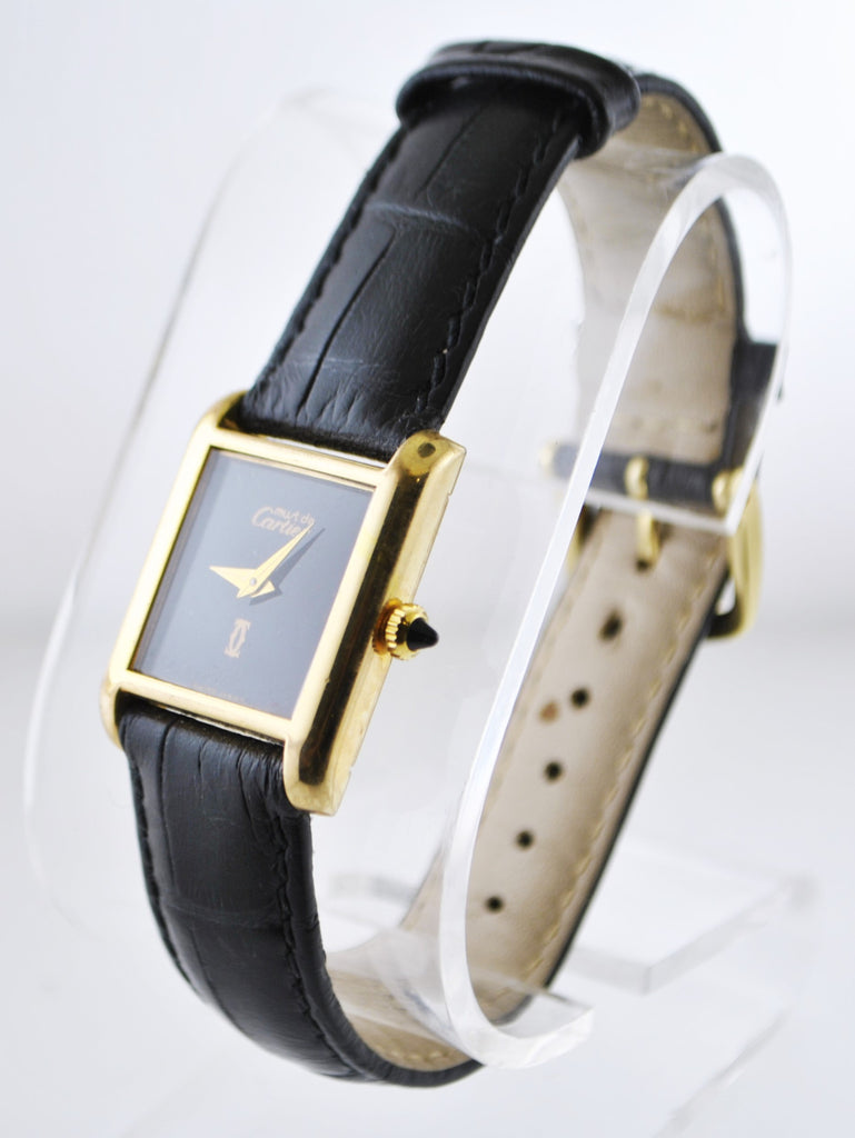 Cartier Tank Mechanic Rectangle Wristwatch with Black Face 18K Yellow Gold Electroplated - $6,500 VALUE