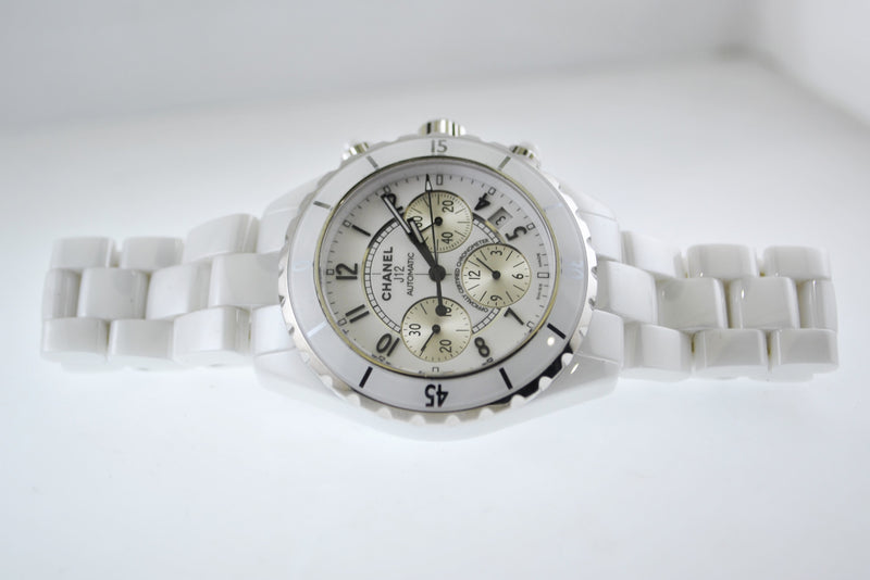 Chanel J12 Automatic Chronograph Water Resistant in Stainless Steel and White Ceramic - $10K VALUE, w/Cert!