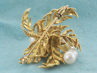 Pearl Brooch with 9 Pearls in Floral Intricate Design in Solid Yellow Gold - $15K VALUE