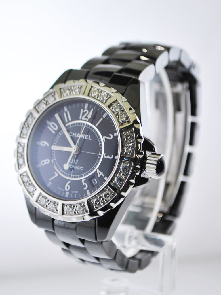 d563d4ac852 Chanel J12 Diamond Automatic Wristwatch Water Resistant in Stainless Steel  and Black Ceramic -  25K