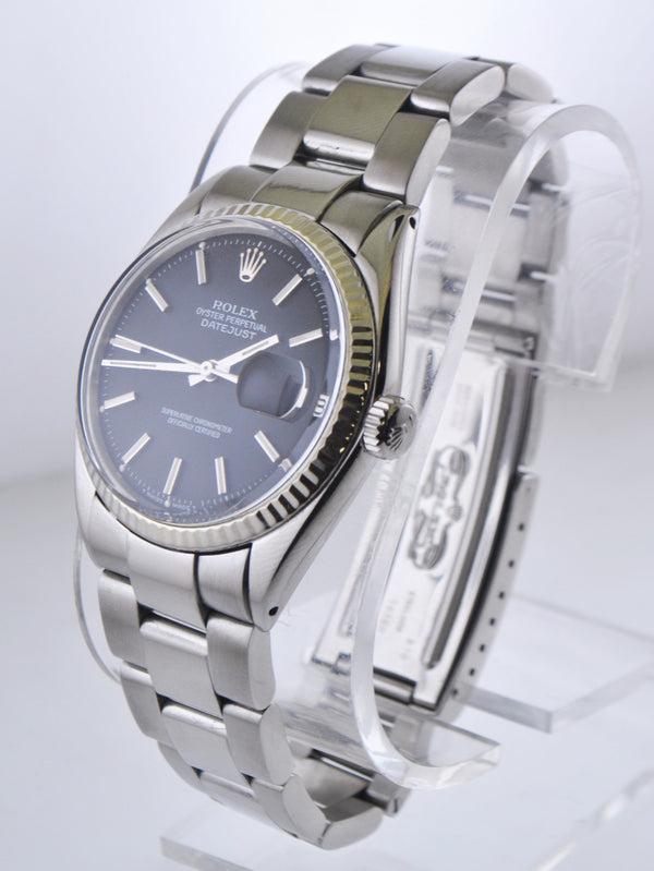 Rolex Oyster Perpetual Datejust Wristwatch 18KWG Bezel Black Dial in Stainless Steel - $12K VALUE
