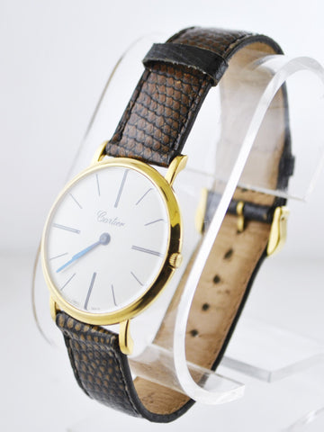 1930's Cartier Mechanic Round Wristwatch on Original Strap in 18 Karat Yellow Gold - $20K VALUE