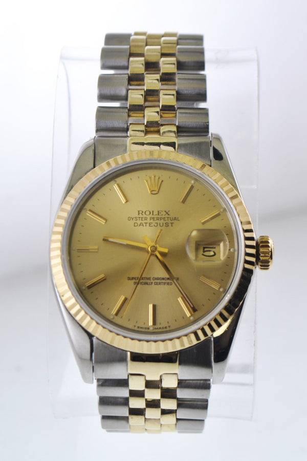 Rolex Oyster Perpetual Datejust Wristwatch Two-tone 18 Karat Yellow Gold & SS - $14K VALUE