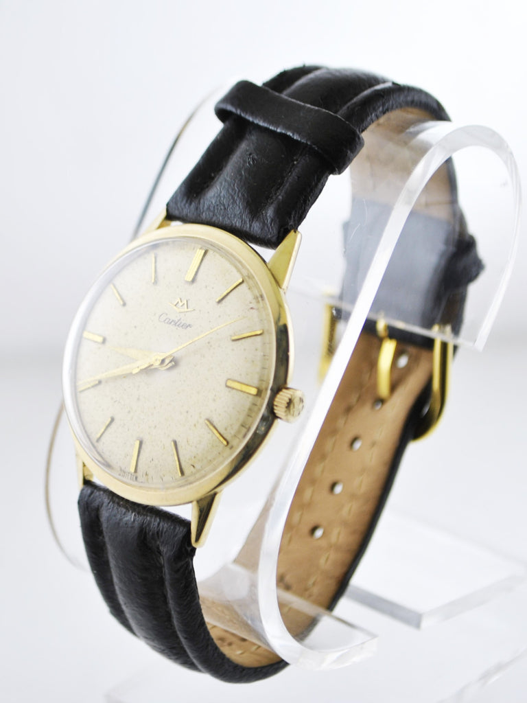 Vintage Cartier Mechanic Round Wristwatch on Leather Strap in Solid Yellow Gold - $15K VALUE
