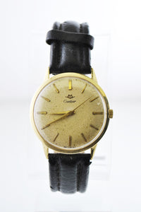 CARTIER Vintage Solid YG Round Wristwatch on Leather Strap - $15K VALUE