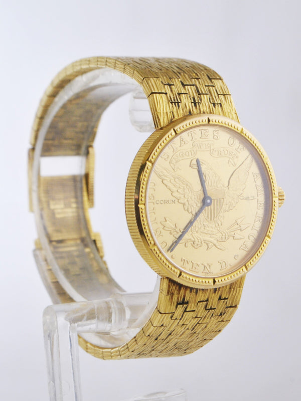 CORUM Vintage 18K Yellow Gold $10 Gold Coin Wristwatch Eagle Liberty 1880 - $30K VALUE