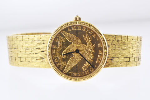 Vintage Corum $10 Gold Coin Wristwatch Eagle Liberty 1880 in 18 Karat Yellow Gold - $30K VALUE