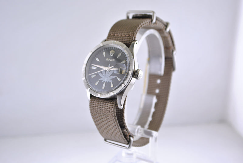 1950s Rolex Automatic in SS with Cannabis/Marijuana Leaf Dial and Date Feature - $20K VALUE