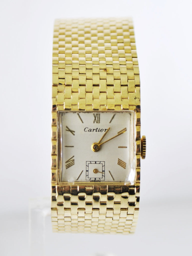 Cartier Wristwatch Square Case in Solid Yellow Gold on Gold Link Bracelet - $15K VALUE