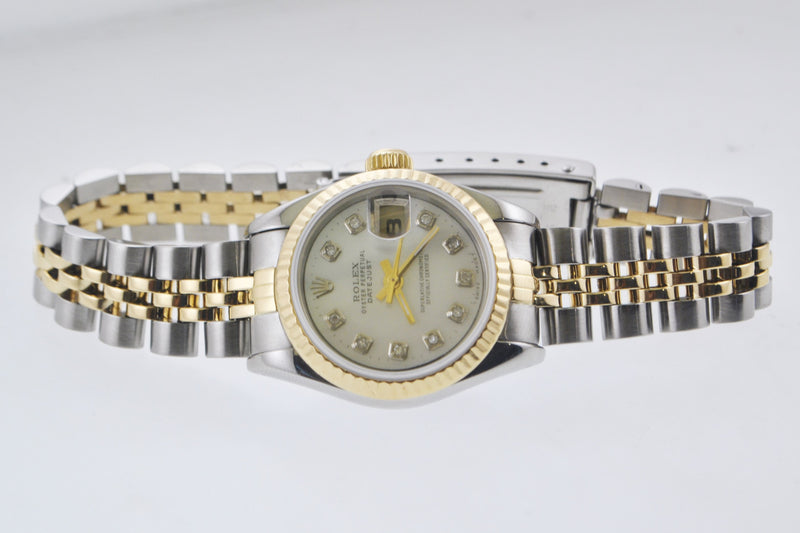 Rolex Oyster Perpetual Datejust Ladies Wristwatch Diamond Pearl Dial Two-tone in 18 Karat Yellow Gold & Stainless Steel - $15K VALUE