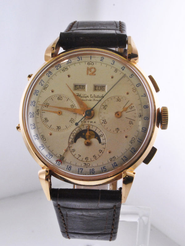 1940's Vintage Philip Chronograph Wristwatch Perpetual Calendar Luxury Watch - $30K VALUE