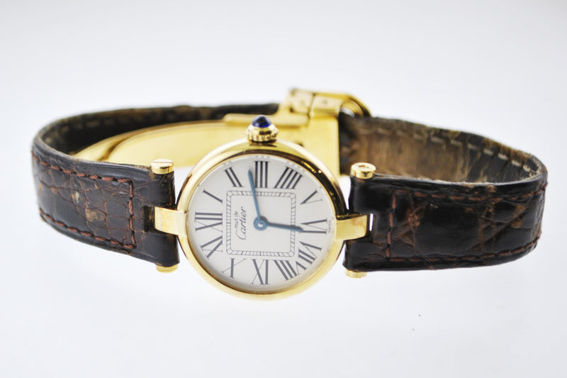 CARTIER Vermeil Thin Round Quartz YG-Plated Wristwatch - $6K VALUE!