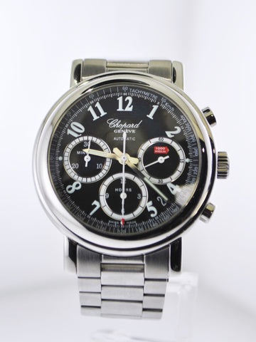 Chopard Mille Miglia Chronograph Automatic Wristwatch Black Dial Skeleton Back Stainless Steel Oyster Bracelet - $15K VALUE, w/Cert!