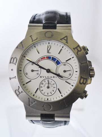 Bvlgari Bulgari Diagono Regatta Chronograph Automatic Wristwatch Round Jumbo Case in 18 Karat White Gold - $25K VALUE