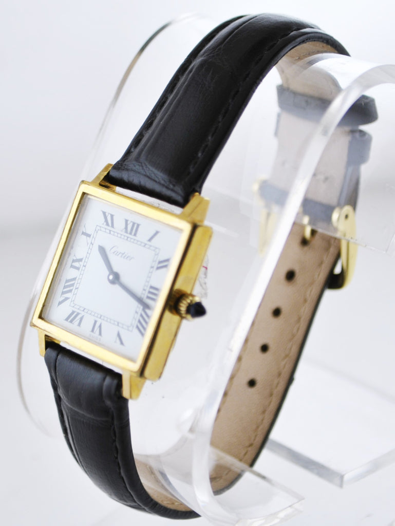 Cartier Square Mechanical Wristwatch in Yellow Gold Plated on Black Leather Strap - $15K VALUE