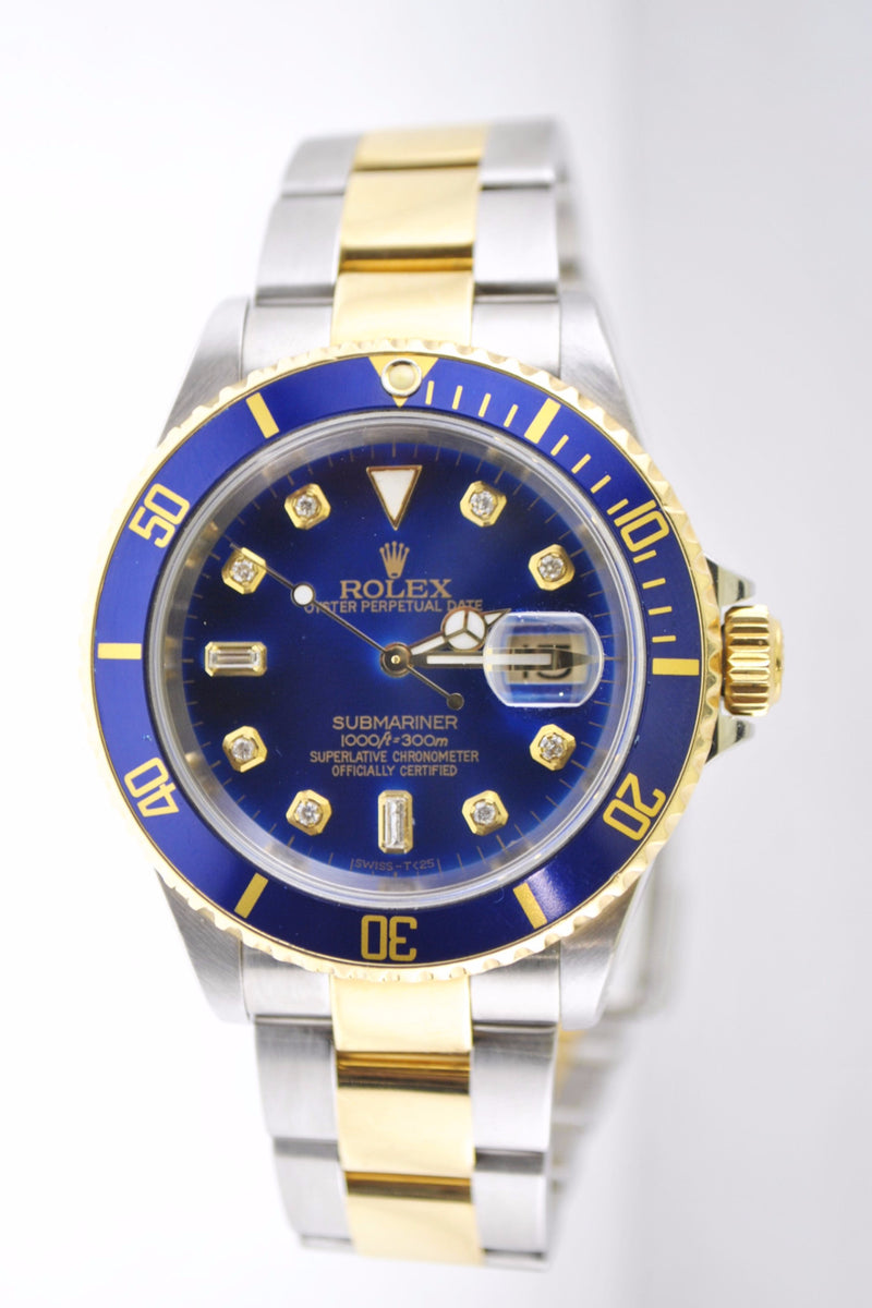 Rolex Submariner Men's Wristwatch in 2 Tone with Blue Diamond Dial and Bezel - $20K VALUE