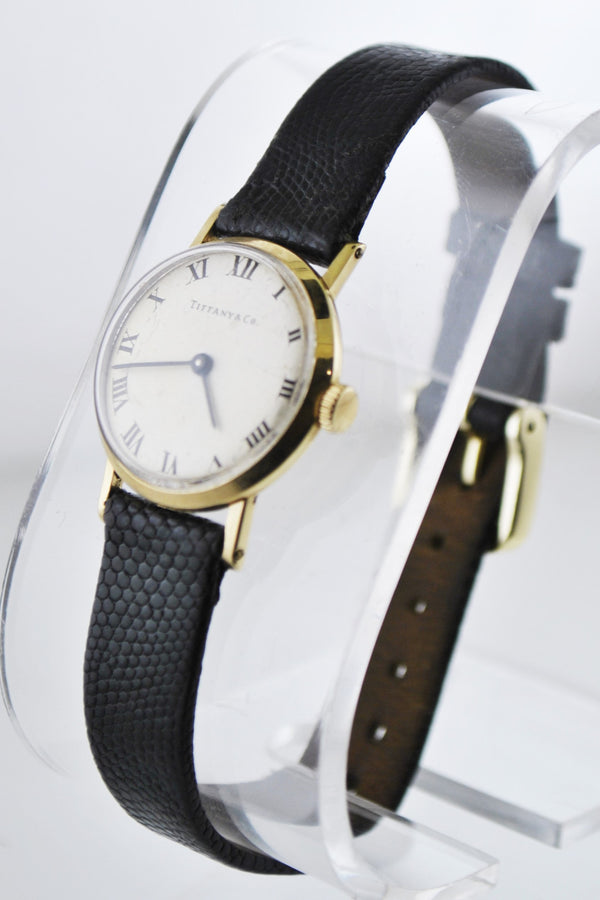 1930's Tiffany & Co Vintage Wristwatch Round Case on Black Leather Strap in Solid Yellow Gold - $10K VALUE