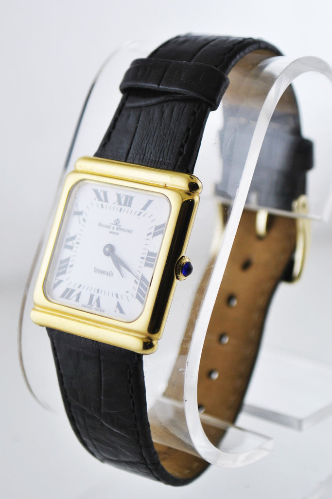 e25fcce32 Tiffany & Co And Baume & Mercier Wristwatch Square Case on Black Leather  Strap in 18