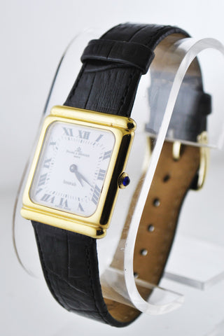 Tiffany & Co And Baume & Mercier Wristwatch Square Case on Black Leather Strap in 18 Karat Yellow Gold - $15K VALUE