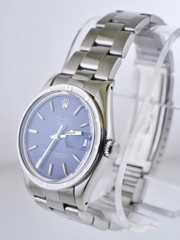 ROLEX Oyster Perpetual Date SS Men's Watch w/ Rare Fluted Bezel & Black Dial- $10K Appraisal Value! ✓