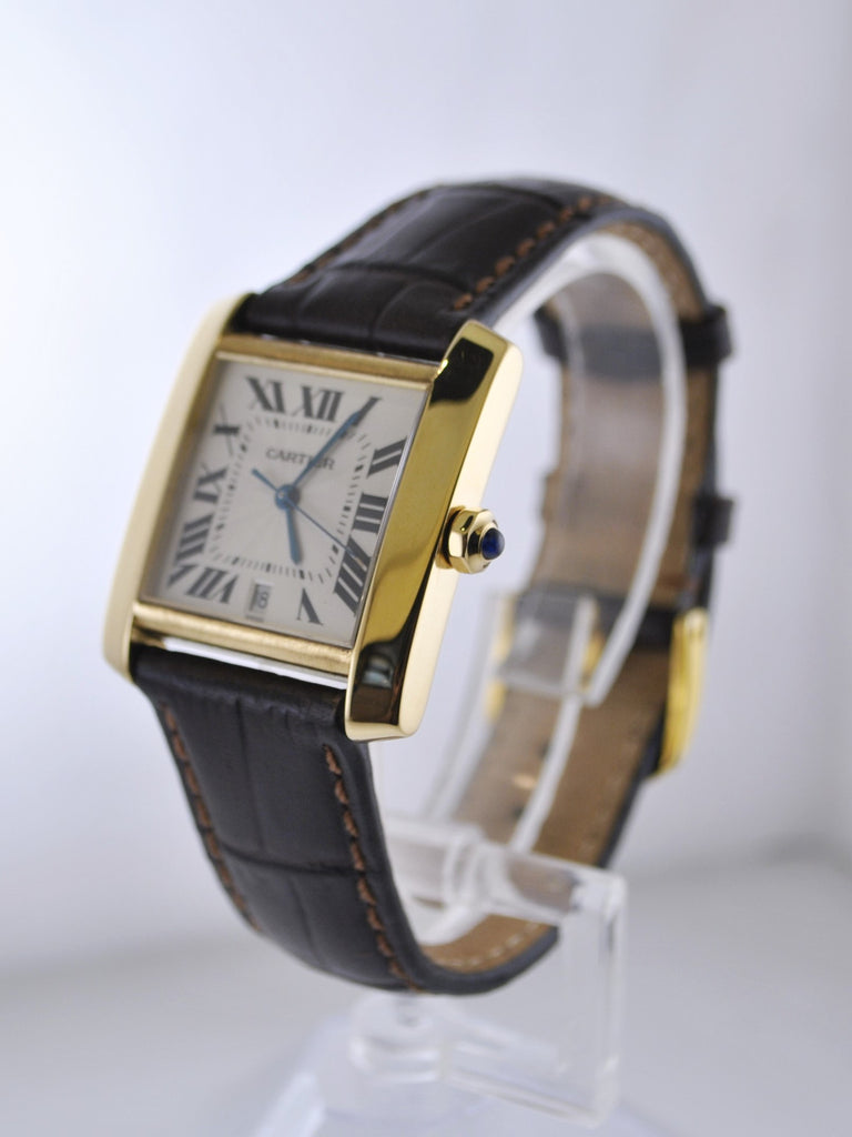 a5318bcb7ffc Vintage Cartier Tank Francaise Original 1840 Wristwatch 18K Yellow Gold  Water Resistant Leather Strap -  13